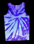 two-tone, neon purple, tie-dye tank top