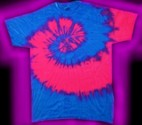 A two-color, fluorescent / neon, blue and pink, tie-dye T-shirt