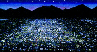 Original, fluorescent painting titled City Lights, shows lights at night from a big city by the mountains.