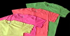 four, plain neon T-shirts in assorted colors