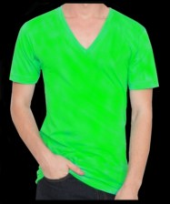 Fluorescent / neon green, V-neck T-shirt