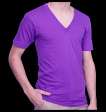 Fluorescent neon v veck t shirts assorted colors for Bright purple t shirt