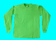long-sleeve, fluorescent or neon green T-shirt